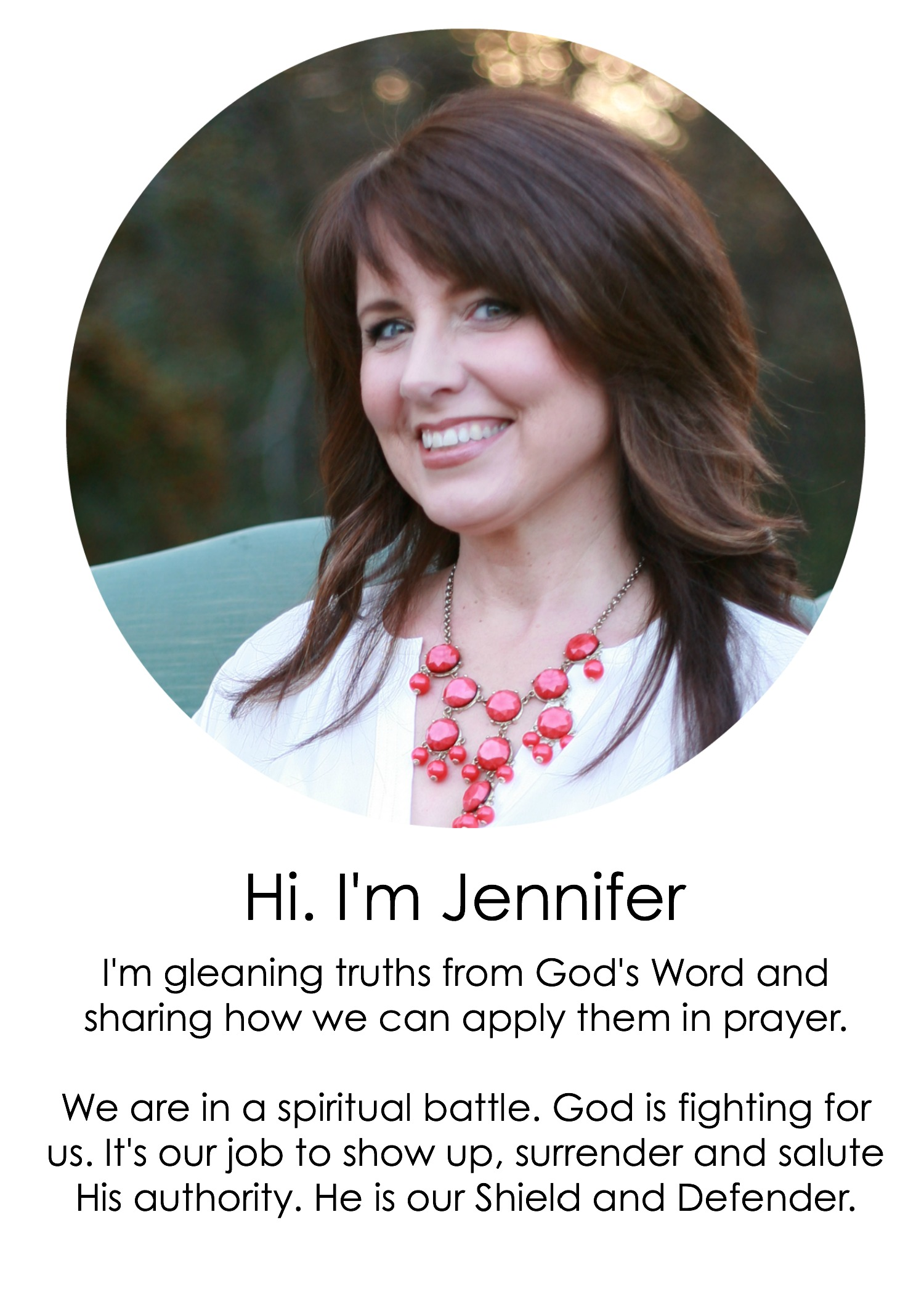 Jennifer O. White welcomes you to Prayerfully Speaking